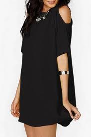 round neck short sleeve cold shoulder plain mini leisure t shirt