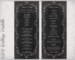 wedding program chalkboard chalkboard program etsy