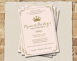 first birthday invitation gold and pink princess invitations