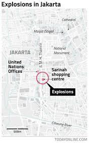 Map Of Jakarta Todayonline Seven Dead In Jakarta Blasts Gunfight