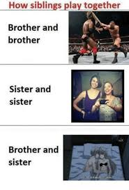 Memes About Sisters - how siblings play together brother and brother sister and sister