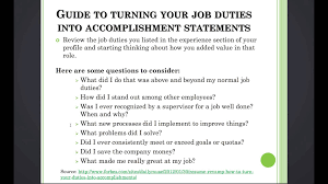 Accomplishment Statements For Resume 3 11 Turn Your Job Duties Into Accomplishment Statements Create