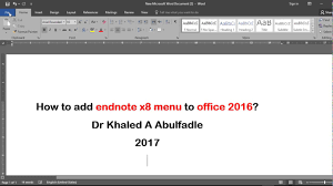 Home To Office by Add Endnote X8 Menu To Office 2016 6 2017 By Dr Khaled A