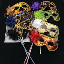 Mardi Gras Halloween Costume Party Mask Stick Flower Venetian Masquerade Mask