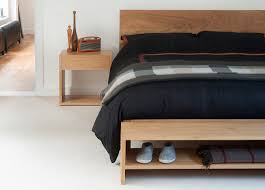 Minimalist Bed Frame Minimalist Bedroom With End Of Bed Wood Storage Bench And Malabar