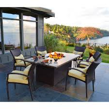 Modern Outdoor Dining Set by Black Stainless Steel Patio Dining Set With Fire Pit Table Using