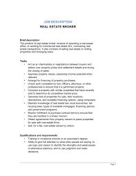 Resume For Real Estate Job by Sample Real Estate Agent Job Description Recentresumes Com