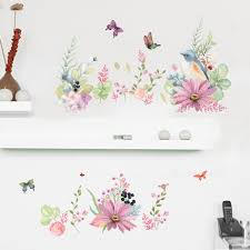 aliexpress com buy flowering shrubs butterfly birds wall decals aliexpress com buy flowering shrubs butterfly birds wall decals fresh plant home decor wall stickers wall border decoration wall applique removable from