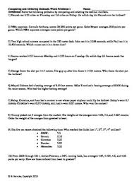 comparing and ordering decimals word problems 3 worksheets tpt