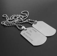 White Gold Name Necklace Army Dog Tags Personalised Name Necklace White Gold Plated Gift