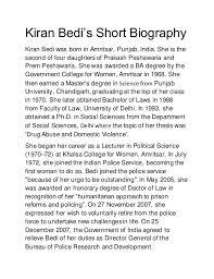 kiran bedi u0027s short biography