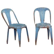 Turquoise Bistro Chair Pair Of Funky Blue Metal Bistro Chairs By Pauchard At 1stdibs