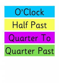 worksheet containing 9 analogue clocks showing quarter to times