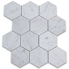 Marble Mosaic Floor Tile Carrara White Carrera Marble Hexagon Mosaic Tile 3 Inch Honed