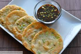 chinese scallion pancakes cong you bing with ginger soy dipping