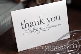thank you wedding cards wedding baker thank you card for baking our wedding cake serif style
