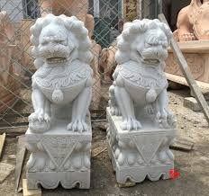 lion dog statue mascot statue caved white marble lion foo dog statue