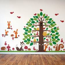 happy tree animal friends collection wall decal graphic spaces nursery happy tree wall decal animal wall decals collection