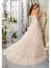 Mori Lee Wedding Dresses Mori Lee 5405 Soft Net Alencon Lace Appliques Tierd Wedding Gown Ivory