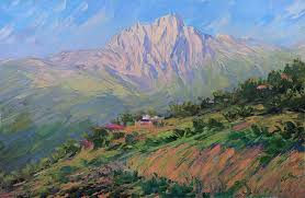 oil painting art of armenian nature on canvass is decor for home