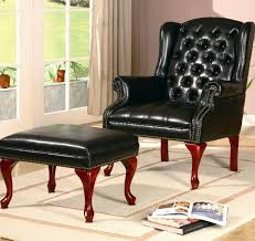 Accent Chair With Ottoman Black Color Vintage Tufted Leather Accent Chair With Ottoman And
