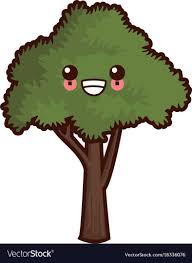 tree symbol tree nature symbol cute kawaii cartoon royalty free vector