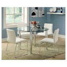 Dining Room Table Glass Iohomes 5pc Glass Top Chrome Leg Round Dining Table Set Metal