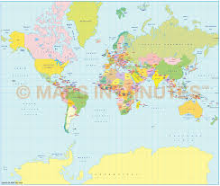 Mercator World Map by Vector World Political Map In The Mercator Projection Uk Centric