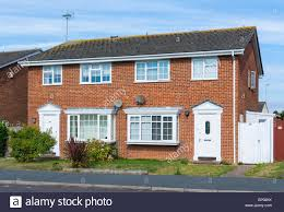 modern brick house semi detached modern brick house in the uk stock photo 116786759
