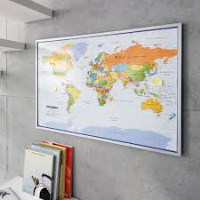 Personalised World Map Pinboard by Map Of The World Pinboard 90 X 60 Cm With 12 Flag Pins English