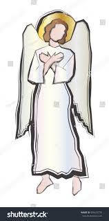 angel standing his hands crossed on stock vector 535412776