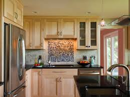 red birch cabinet kitchen contemporary with glass tile backsplash