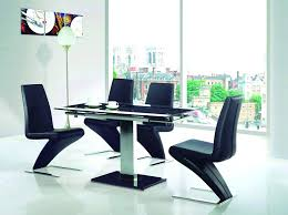 penley oak extendable dining table and 6 black chairs black gloss