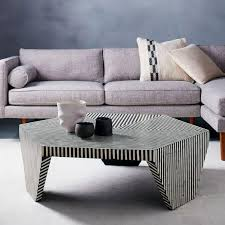 Black And White Coffee Table And White Bone Inlaid Faceted Coffee Table