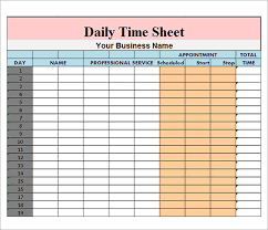 Daily Timesheet Template Excel Daily Timesheet Template 9 Free For Pdf Excel