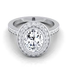 bezel set engagement ring oval diamond bezel set halo engagement ring platinum rockher