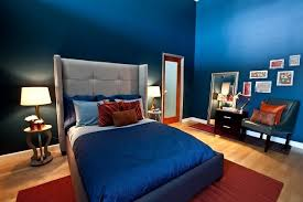 Blue Bedroom Color Schemes Blue Bedroom Color Scheme White Wooden Bedside Table White Covered