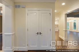 Two Panel Solid Wood Interior Doors Modern Style Solid Interior French Doors With Closet Double Door