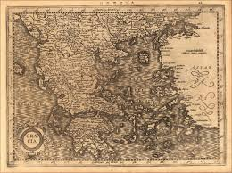 Ancient Map Of Greece by Graecia Artist Mercator Gerard Published Amsterdam I E