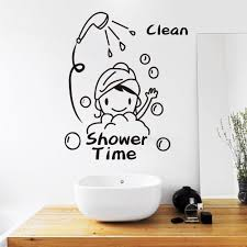 shower time bathroom wall decor stickers lovely child removable shower time bathroom wall decor stickers lovely child removable vinyl waterproof wall art decal wall quote stickers wall quotes from flylife 4 03 dhgate