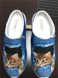 cute pet cat denim printed women sandals light weight slip on
