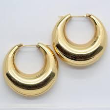 1960 s earrings vintage 14k gold hoop earrings circa 1940 1960 s retro era 6190