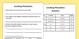 ks2 worksheets geography mountains and volcanoes page 1
