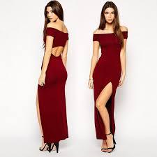 wine red women dress slash collar strapless dress tight split