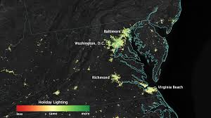 satellite sees holiday lights brighten cities nasa