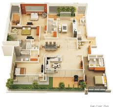 4 bedroom luxury apartment floor 3d plan solitaire luxury