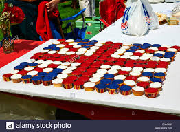 Flag Cakes The British Union Jack Flag Made Out Of Coloured Cup Cakes Made