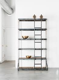 vintage industrial shelf with rolling ladder white shanty