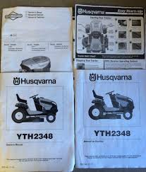 husqvarna yth2348 lawn tractor operator parts engine manual