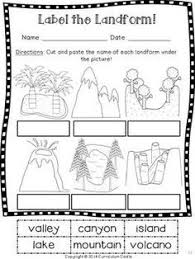 this landforms worksheets allows students to match the names of